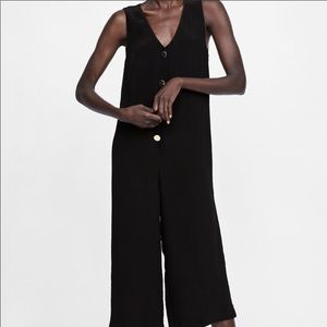 Zara Black Buttoned Jumpsuit